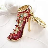 6色靴クリスタルラインストーンハイヒール財布バッグペンダントキーチェーンキーリングレッド
