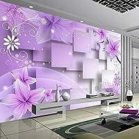 Xueshao 現代のミニマリストの紫色の花3D立体抽象テレビの背景の壁紙リビングルームの壁の装飾画壁画-120X100Cm