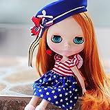 (ドーリア)Dollia ブライス 1/6ドール用 アウトフィット 星条旗 アメリカ風 ワンピース 星条旗海軍キャップ セット ネオブライス ドール 人形 (2点セット)