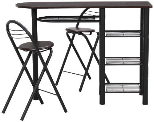 不二貿易 カウンター テーブル チェア 3点セット ブラウン×ブラック 95247