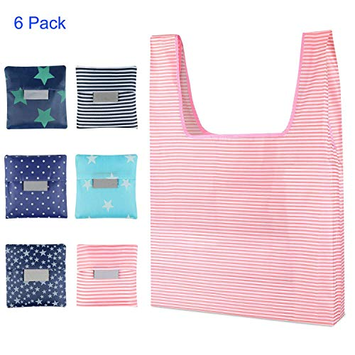 Shopping Bag, Yohoo Reusable Environmental Grocery Tote Bags Foldable into Attached Pouch,Washable,Waterproof and Easy to Carry, Great for Outgoing and Shopping (6PCS, A)