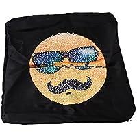 MARUIKAO クッションカバー リバーシブル 絵文字 スパンコール 抱き枕カバー つムード 可逆ピローケース おもしろい ソフト ホーム カフェ オフィス 装飾パッド枕 枕ケース