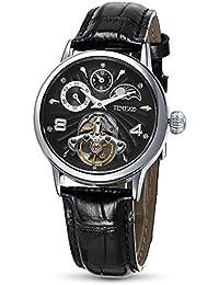 Time100 多機能 スケルトン 太陽と月と星 オートマチック  機械式 メンズ腕時計 レディース腕時計 #W60011M.02A (ブラック)