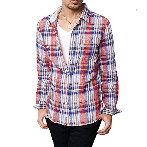 (ハイクオリティプロダクト) High quality product メンズ フレンチリネン長袖マドラスチェックシャツ チェックシャツ 長袖シャツ アメカジ リネンシャツ Sレッド XLサイズ
