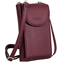 S-ZONE PU Leather Cellphone Wallet Clutch Purse Zippered Crossbody Bag Phone Pouch