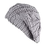 (knit beret)ざっくり編み ニット ベレー帽 シンプル 無地 最新秋冬 レディース 可愛い 小顔 ふわふわ あったか ゆったり ニット帽子 ライトグレー