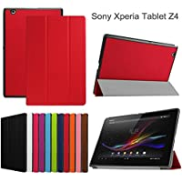Xperia Z4 Tablet SO-05G 専用ケース【スリム 傷つけ防止 耐衝撃 折り畳み 横開き 軽量型 超薄型】HKkais 高級スマートカバー (赤)