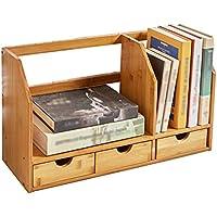 Super Kh® オフィス用品デスクトップストレージボックス木製本棚引き出しオフィスシェルフファイルソリッドウッドバンブー *