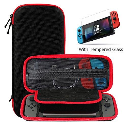 Nintendo Switch ケース 強化ガラス付き Ztotop ニンテンドースイッチ専用 任天堂収納カバー 専用保護 旅行やホームストレージに最適 全面保護 ケーブル/カードなど小物収納可能 画面保護シート付き 9H高品質ガラスフィルム 液晶保護フィルム 0.33mm高透過率 2.5D加工 疎水性 飛散防止技術 耐指紋 (ブラックそしてレッド)