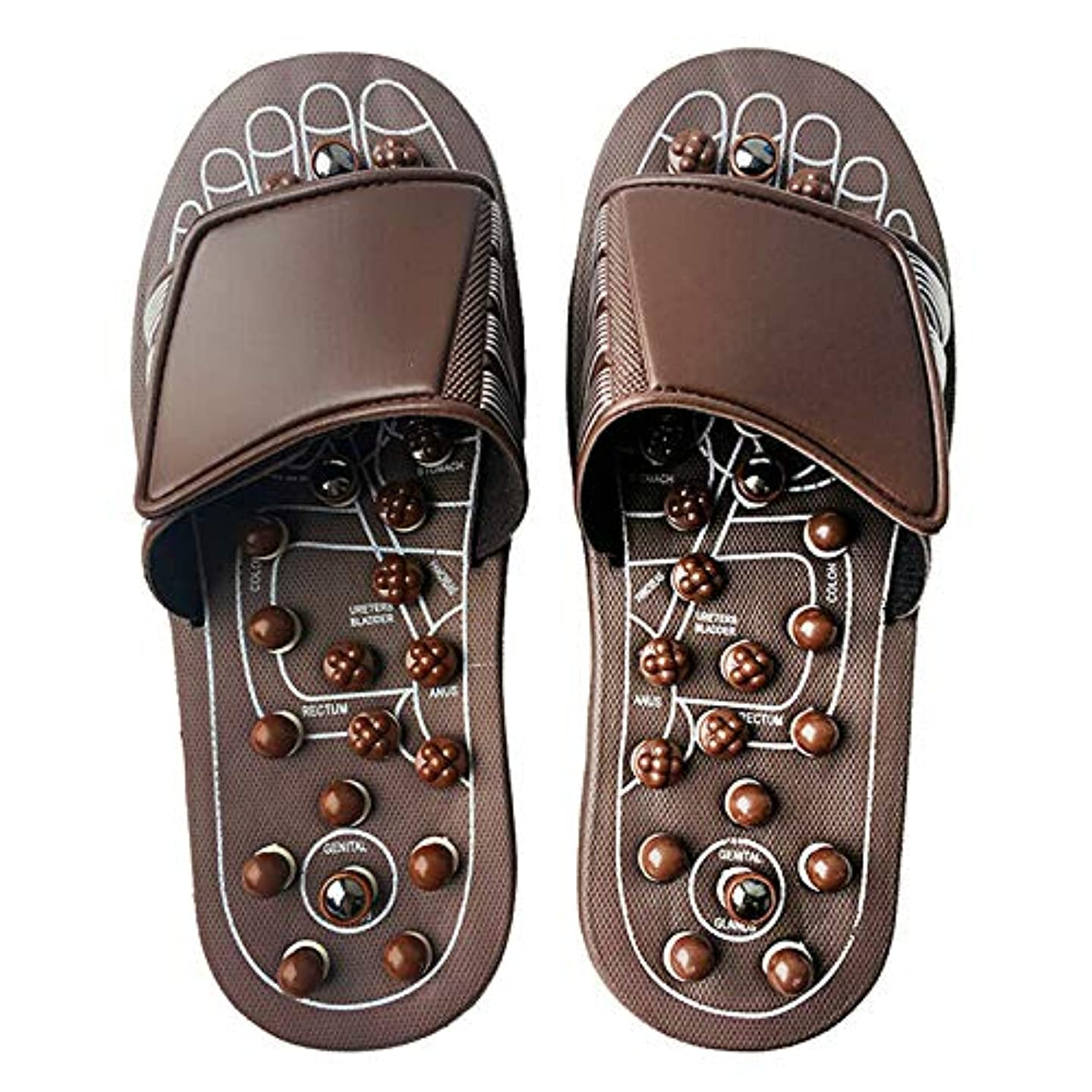 火炎パネル協力的Euphoric Feet 男性と女性のためのマッサージスリッパ足リフレクソロジー指圧サンダルの靴の救済痛み (M)