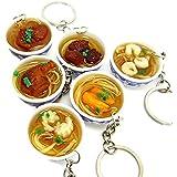 6個セット ミニPVC青と白のボウル 中華麺 おいしい食べ物 携帯電話 キーホルダ バッグストラップ おもちゃ