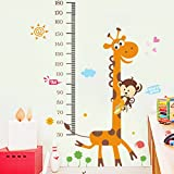 ステッカー 身長計柄 猿とキリン はがせるウォールステッカー 身長 50cm-180cm wall sticker 壁紙 60*90cm