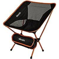 VECELO (べセロ) アウトドアチェア 折りたたみ 超軽量 組み立て式チェア キャンプ椅子 アルミ合金&オックスフォード 収納バッグ付き コンパクト 耐荷重120kg (オレンジ)