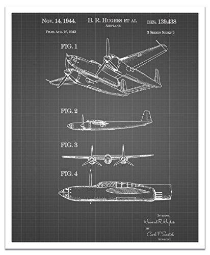 JP London POSJSG29 Howard Hughes Speed Flight Airplane Retro Multi Peel and Stick Vintage Black Grid Poster Patent Art, Black/White Gridlines, 24' x 19.75' [並行輸入品]