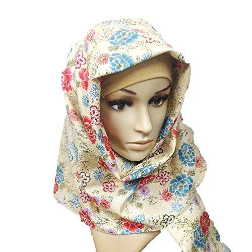 ヒジャブ 着物 和柄 ちりめん hijab Japan muslim (流水 ベージュ)