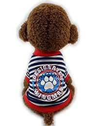 犬服 Hosam ペット 洋服 冬 春 トレーナー 縞柄 上着 犬用 小型犬  猫 保温服 可愛い おしゃれ 脱毛保護 (S, レッド)