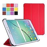 WAWO Samsung Galaxy Tab S2 9.7インチ タブレット ケース 超薄型 最軽量 スマートカバーケース 三つ折り オートスリープ スリープ解除 マグネット開閉 マルチアングル スタンドーレッド