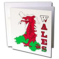 777imagesフラグとマップ–ヨーロッパ–ウェールズの旗ウェールズのアウトラインマップでと国名前–グリーティングカード Individual Greeting Card