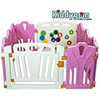 Kiddygemパズルとビープ楽しいベビー10パネルベビーサークル、ピンク