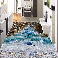 Wuyyii 大型カスタムフローリングの洞窟洞窟イルカビーチビーチバスルーム寝室の3 Dフロア-400X280Cm