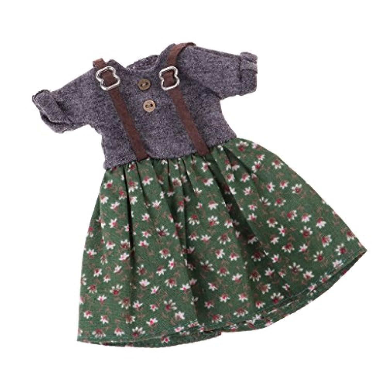 Baoblaze 1/6 Bjdブライスドールのため 手作り 愛らしい人形衣装 ストラップ 花ドレス