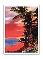 アイルO '夢、ハワイ - ビンテージなハワイアンカラーのハガキ c.1930s - アートポスター - 30.5cm x 41cm