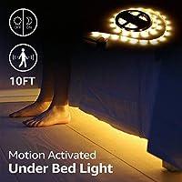 Dorolla Under Bed Light、モーションセンサーと電源アダプター、ベビーベッド、ベッドサイド、階段、バスルーム(フル/クイーン/キングサイズベッド)のベッドルームナイトライトと調光モーション活性化ベッドライトLEDストリップ