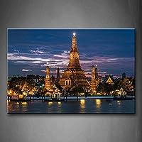 最初の壁アート–Arun Wat Templeライトサンセット壁アート絵画プリントキャンバスの宗教の絵ホーム装飾ギフト 24x36inch 8207765F