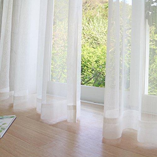 RoomClip商品情報 - 【200サイズから選べる UVカット レースカーテン】お部屋が明るい!でもしっかり UVカット 外から見えにくい 洗濯可 レースライン-ホワイト 幅100x丈113cm 2枚入