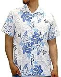 ROUSHATTE(ルーシャット) アロハシャツ コットン 裏使い 総柄プリントシャツ ブルー S