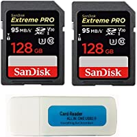 Sandisk 128 GB (2パック) Extreme Proメモリカード(sdsdxxg-128g-gn4in) SDXC 4 K v30 UHS - Iクラス10 with Everything But Stromboli (TM) コンボリーダー
