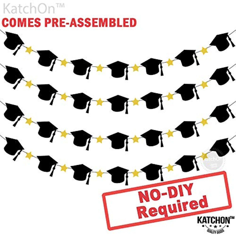 帽子と星付き卒業ガーランド - 組み立て済み - ブラックとゴールド 卒業パーティー用品 2019 - 卒業帽子デコレーション - テーブル マントルデコレーションバナー | DIY不要 | 4ストランドフェルトバナー