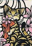 ねこの引出し 猫切り絵作家「さとうみよ」のポストカード「花飾り」