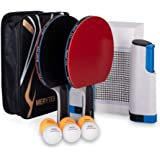Merytes ポータブル 卓球 ラケット ポータブル 卓球セット ラケット2本 ピンポン球6個 卓球用品 卓球ラケット…
