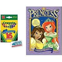 ライトパープル プリンセス カラーリング&アクティビティブック 16色Crayolaクレヨンボックス (2個パック)