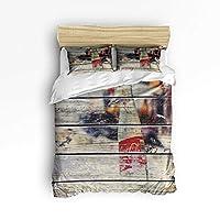 YEHO アートギャラリー ソフト布団カバー3点セット 掛け布団カバー1点 枕カバー2点付き 女の子 男の子用 カラフルなフルーツオレンジパターン クリスマス寝具セット フルサイズ 20181114SJSWHLWHLYASSTW01550SJSBYAG
