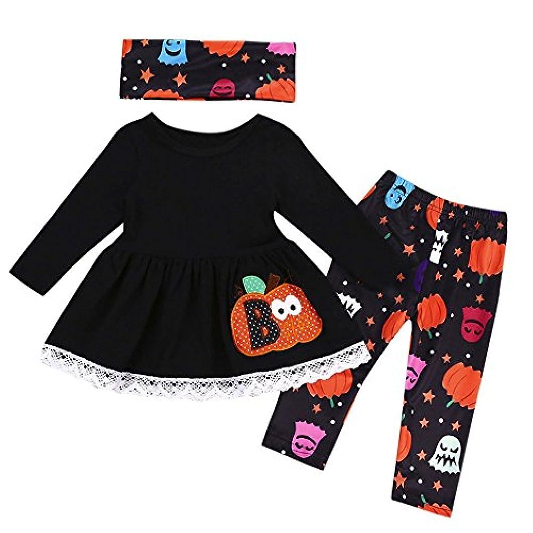 ストリーム心配分布BHKK 子供 幼児の女の子のカボチャのトップス+パンツ+スカーフのハロウィーンの装飾の服 12ヶ月 - 4歳 18ヶ月