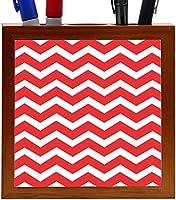 Rikki Knight Chunky Chevron Red Zig Zag Design 5-Inch Tile Wooden Tile Pen Holder (RK-PH44681) [並行輸入品]