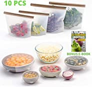 FutureUses® - Reusable Food Storage - 4 Silicone Food Bags + 6 Silicone Stretch Lids - Zero Waste - Ziplock Bags - Eco Frien