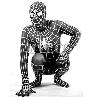 【MVCOS】イベント 通気 柔らかい セクシー ブラックとホワイト ライクラ スパイダーマン 全身タイツ コスチューム (S)