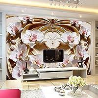 Ansyny カスタム壁画壁紙3Dステレオレリーフ花フレスコリビングルームテレビソファ背景壁紙用壁3 D-260X160CM