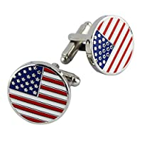 Pinmei American Flag CufflinksエナメルラウンドペアGreat Gift for Men