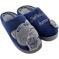 ALOTUS Women's & Men's Memory Foam Slippers Animal Cute Cartoon Cat Winter Warm Fuzzy Bedroom Shoes Non Slip