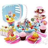 食べ物を再生、誕生日ケーキセットキッズプレイフード、ビスケットふりプレイフードふりロールプレイングギフト ロールプレイングのふりをする (Color : 110pcs blue cake)