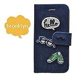 Ricamo iPhoneSE 6/6s ケース 手帳型 ジーンズ デニム 刺繍 革/カード収納/スタンド/横開き/高級 (Brooklyn)