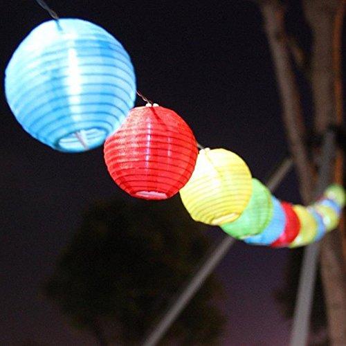 「Kbook」ソーラー充電式led イルミネーションライト 提灯型 ランタン 伝統気持ち 光セーサー内蔵 自動的にON/OFF パーティー・イベントに装飾用提灯 パーティーグッズ クリスマスライト ウェディング 夏祭り、お正月、人形祭りなど伝統的なお祭りに 屋内外 10球/20球 マルチカラー/ウォームホワイト (10球, マルチカラー)