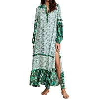 R.Vivimos Women Long Sleeve Floral Print Bohemian Maxi Dresses with Slit (Small Green)