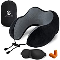 Travel Pillow Premium Memory Foam | Neck Comfort and Support | Fitted Eye Mask and Noise Blocking Ear Plugs Accessories Bundle by Earth Essentials