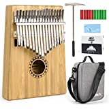 Aklot Bamboo Kalimba 17 Key Finger Piano Marib Mahogany with Padded Gig Bag Tuner Hammer