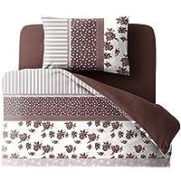 ベッド用カバー(3点セット) シングル/切替え柄×ブラウン
